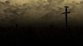 Raven country field creepy cross dark wallpaper