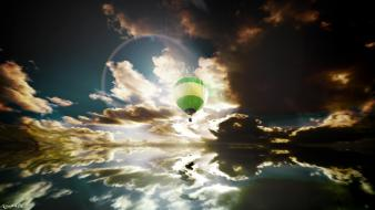 3d clouds hot air balloons skyscapes Wallpaper