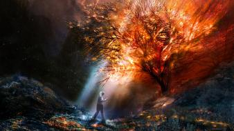 Alexius burning fantasy art flames looking up wallpaper