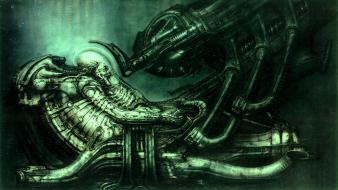 Alien aliens movie space jockey green outer wallpaper