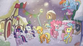 Applejack christmas fluttershy my little pony pinkie pie wallpaper