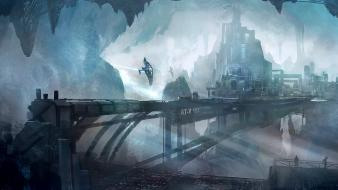 Artwork cities futuristic science fiction underground wallpaper