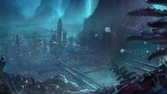 Artwork cities futuristic science fiction underwater wallpaper