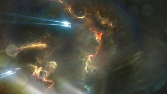 Artwork nebulae outer space science fiction spaceships wallpaper