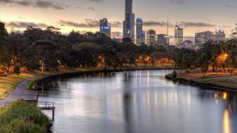 Australia melbourne cityscapes water wallpaper