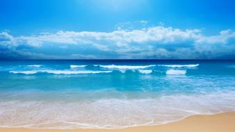 Beaches blue clouds landscapes nature wallpaper