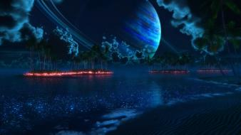Beaches digital art ocean outer space Wallpaper