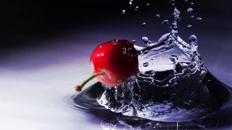 Berries cherries macro splashes water drops wallpaper