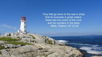 Bible lighthouses nature quotes sea wallpaper