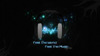 Blue headphones music wallpaper