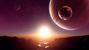 Canyon outer space planets rivers sunset wallpaper