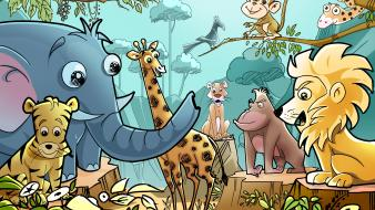 Children drawings elephants giraffes lions wallpaper