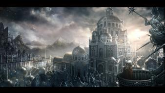 Cityscapes drawings emperor fantasy art landscapes Wallpaper