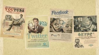Classic facebook twitter youtube retro wallpaper