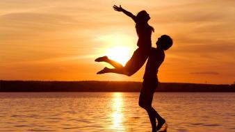 Couple love nature silhouettes sunset wallpaper