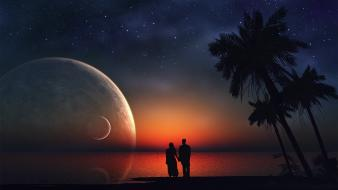 Deserts dreams lovers palm trees silhouettes wallpaper