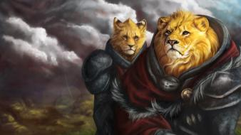 Digital art furry lions wallpaper