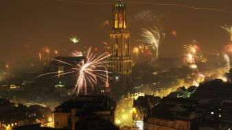 Europe new year cities clock tower fireworks wallpaper