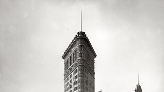Flatiron building new york city architettura cityscapes greyscale wallpaper