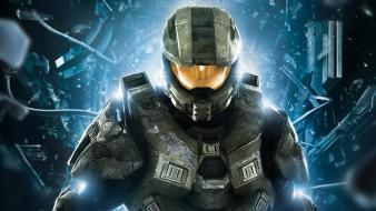 Halo 4 master chief armor helmets shattered wallpaper
