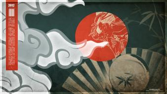 Japanese clothes ukiyoe bamboo clouds wallpaper