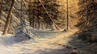 Landscapes nature paintings snow winter wallpaper