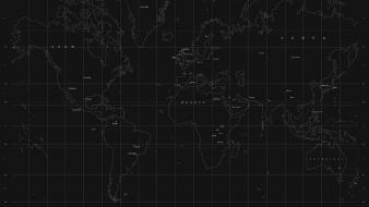 Maps minimalistic monochrome world map Wallpaper