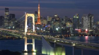 Tokyo architecture buildings cityscapes night wallpaper