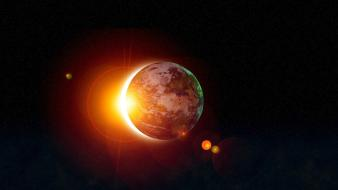 Abstract eclipse planets space sunlight wallpaper