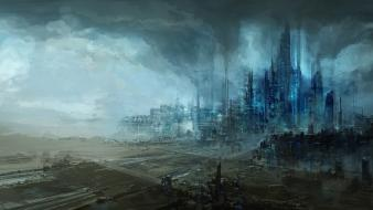Artwork citylife futuristic science fiction scratte wallpaper
