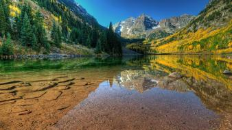 Autumn lakes landscapes mountains skyscapes wallpaper