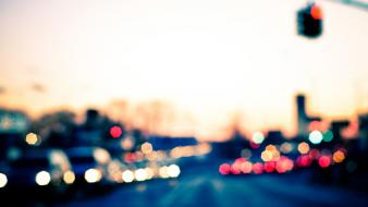 Blurred bokeh cars cityscapes roads wallpaper