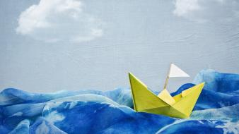 Boats paper boat vehicles water waves wallpaper