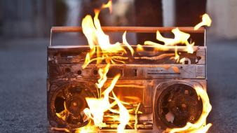 Boombox eminem berzerk blurred background fire wallpaper