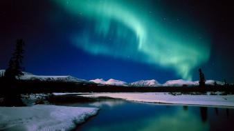 Canada aurora borealis snow landscapes wallpaper