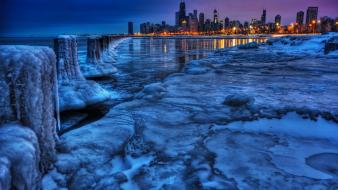Chicago cityscapes city skyline frozen landscapes wallpaper