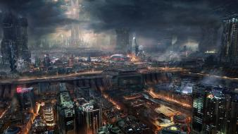 Cityscapes science fiction wallpaper