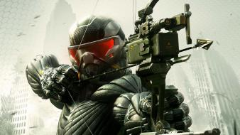 Crysis 3 bow weapon nanosuit video games wallpaper