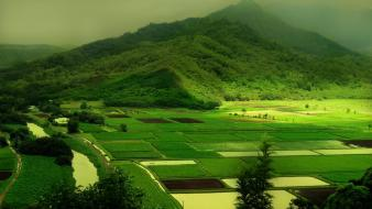 Farm green field landscapes mountains nature wallpaper