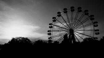 Ferris wheels monochrome wallpaper