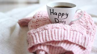 Happy days coffee cups sweaters wallpaper