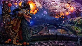 Jax league of legends sona artwork cherry blossoms wallpaper
