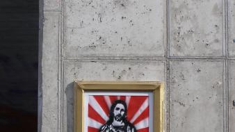 Jesus capitalism graffiti street art Wallpaper