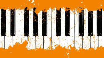 Music orange paint piano wallpaper