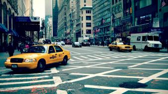 New york city streets taxi traffic wallpaper
