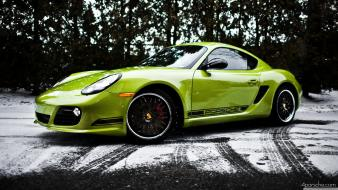 Porsche cayman abstract green snow wallpaper