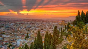 Spain cityscapes nature sunset trees wallpaper
