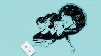The beatles blue background cassette tape wallpaper