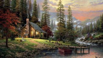 Thomas kinkade artwork cabin forests houses wallpaper