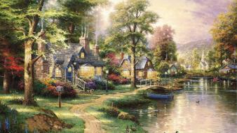 Thomas kinkade artwork landscapes nature wallpaper